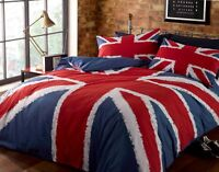 Rapport Union Jack Flag Red White & Blue Duvet Cover Bedding Set