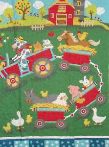 "Farm Animal Cow Horse Sheep Train Child Baby Quilt 32""x44""  Homemade Cotton"