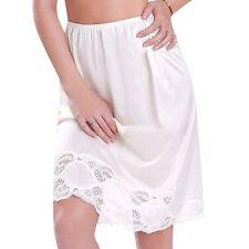 Women's Premium Illusion Classic Trouser Pants Half Slip With Lace Trim 1017 Beige M 18 Inches