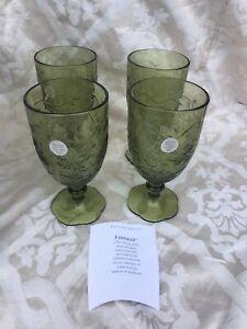 PRINCESS HOUSE FANTASIA GREEN LEAF BEVERAGE GLASSES BOXED 5392