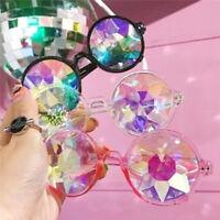 Festival Rave Kaleidoscope Round Rainbow Glasses Diffraction Crystal Lens