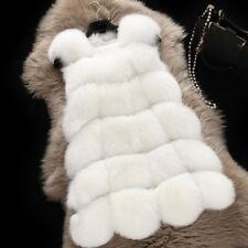 Womens Faux Fox Fur Waistcoat Warm Slim Gilet Outwear Long Vest Jacket Coat Top