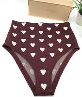 Burberry Prorsum Auth High Waist Jacquard Heart Briefs Silk Blend US M NWOT $650
