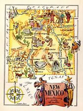 1950s Vintage NEW MEXICO Map Native American Indians Gold Mining 3426