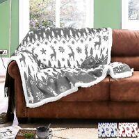 Fairisle Faux Fur Fleece Sofa Throw Warm Cosy Xmas Stag Bed Blankets Reversible