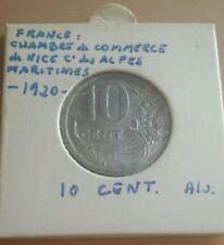 FRANCE - Monnaie 10 cent CDC Nice de 1920 fautée Désaxée 90°/Coins tournés RRRRR