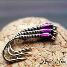 Holo Pink Natural Quill Buzzers size 14 (Set of 3) Fly Fishing Straight Hook