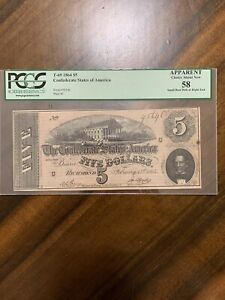 T-69 1864 $5 Five Dollar The Confederate States Of America PCGS 58