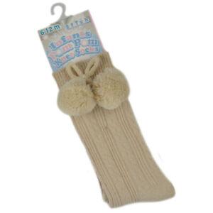 Baby Beige Pom Pom Socks Knee High Spanish Romany Boys Girls Unisex  Soft Touch