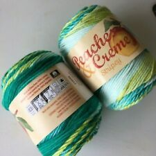 NEW COLOR!!  #28 Lot of 2 Peaches n Cream Yarn 100% Cotton Green Stripes