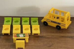 Vintage Fisher Price Little People School Bus+Teacher Desk+8 Student Desks.