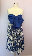 VINTAGE JAEGER BLUE & WHITE COTTON STRAPLESS DRESS SIZE 14 FIT 10/12