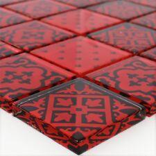 Glas Mosaik Fliesen Zementoptik Rot