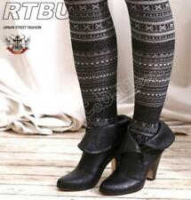 Nordic Snow Flake Pattern Warm Opaque Footed Knit Tights Pantyhose