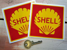 """Shell Red Square Race & Rally Car STICKERS 4""""Pair Racing Bike Motorcycle Ferrari"""