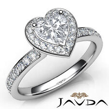Halo Pre-Set Heart Diamond Engagement Ring GIA F Color VS1 18k White Gold 0.95Ct