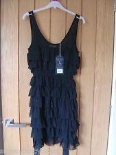 Jack Wills Dangerhall Black Sparkle Silk Dress Size 6 NEW (tags) RRP £129(Ref Z)