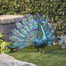 Peacock Garden Decor Statue Metal Outdoor Large Patio Sculpture Blue Porch Yard