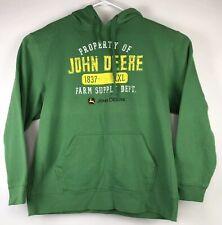 John Deere Mens Green Hoodie Property of John Deere Sweatshirt Hoodie Sz Large