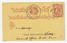 THAILAND SIAM. 31 December 1894 First Postal Card, used Bangkok 2