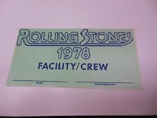 1978 ROLLING STONES GOOD CONDITION AUTHORIZED FACILITY CREW STAGEHAND PASS RARE