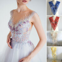 3D Flower Embroidery Lace Applique Bead Rhinestone Tulle DIY Wedding Dress Decor