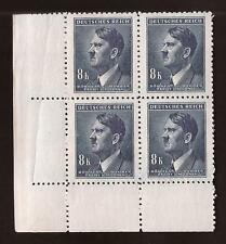 WW2 Nazi Germany 3rd Reich Hitler head B&M 8K value bust stamp block MNH
