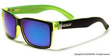 Square Mirrored Men Women Style Retro 80'S Sunglasses Black 2 Tone