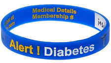 Diabetes Alert Write On Blue Silicone Wristband Medical Alert Bracelet Mediband