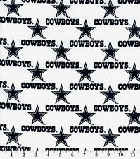 NFL DALLAS COWBOYS WHITE 100% COTTON FABRIC BY THE 1/4 YARD
