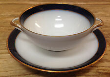 Hutschenreuther Kobalt Cobalt Blue Olivia 4737 White Gold 1 Cream Soup Saucer