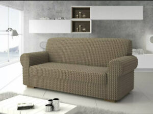 3 Seater Sofa Cover Stretch Microfibre Settee Light Brown Protector Up To 260cm