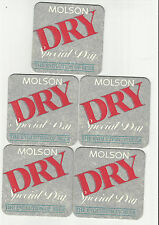 Lot Of 5 1980's Era Molson Special Dry Beer Coasters B-Molson Of Canada