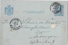 Netherlands Briefkaart: Aug, 1889 - Leiden to Antwerpen (Antwerp) Belgium - ph96
