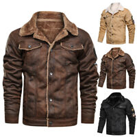 Mens Vintage Biker Motorcycle Button Thick Bomber Coats Winter Leather Jacket US