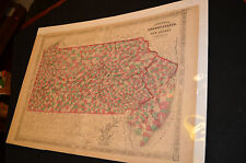 Antique Original 1864 Map of PA & NJ Railroads Townships & Counties Hand Colored