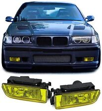 REPLACEMENT CRYSTAL YELLOW FOG LIGHTS + FITTING BRACKETS BMW E36 3 SERIES H1 TY2
