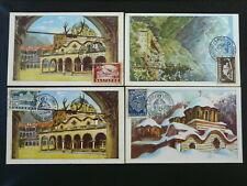 religion orthodox St John of Rila monastery x4 maximum card 1946 Bulgaria 85521