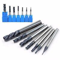 7pcs 1-8mm 50° 4 Flutes Tungsten Carbide End Mill Set CNC Milling Cutter Tool C#