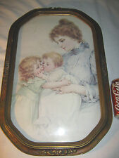 ANTIQUE PRIMITIVE CONVEX ART GLASS WOOD PICTURE FRAME MOTHER BABY PHOTO PICTURE