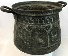 "Antique 9"" Pictorial Middle East Camel Islamic Malik Nabi Hammered Copper Pot"
