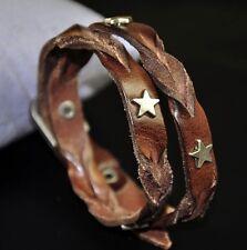 Z01 Men's Cool Stars Surfer Studded & Braided Leather Wristband Bracelet Brown