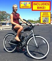 "POWERFUL 2-STROKE 66CC/80CC COMPLETE DIY MOTORIZED BICYCLE KIT WITH 26"" BIKE!"