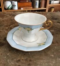 Vintage Fraureuth White And Blue Pedestal Tea Cup And Saucer