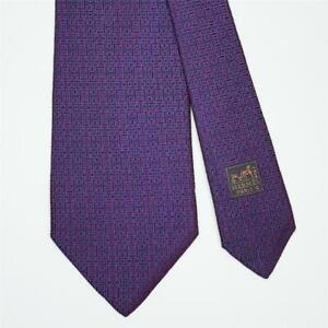 HERMES TIE 758919 T Blue Geometric H on Red Classic XL Heavy Silk Necktie