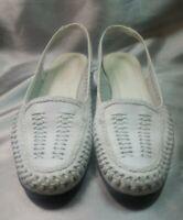 Classic Elements Hudson White Woven Soft Leather Upper Slingback Flats Women 8M