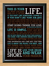 This Is Your Life Live Once Motivational Quote Wall Art A4 Print Poster Photo