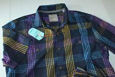 Tommy Bahama Camp Shirt Mo Rockin Plaid Silk Ocean Deep T317687 New Medium M