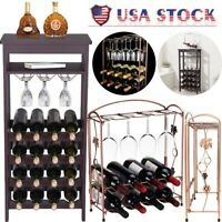 Wine Organizers Display Glass Holder Metal/Wood Bottle Rack Stand Storage Shelf