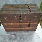 Antique Metal & Wood Travel Chest Canvas Steamer Trunk Steampunk